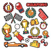 Fashion Badges, Patches, Stickers Champions Theme