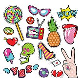 Fashion Badges, Patches, Stickers Girls Elements Lips, Heart Comic Style