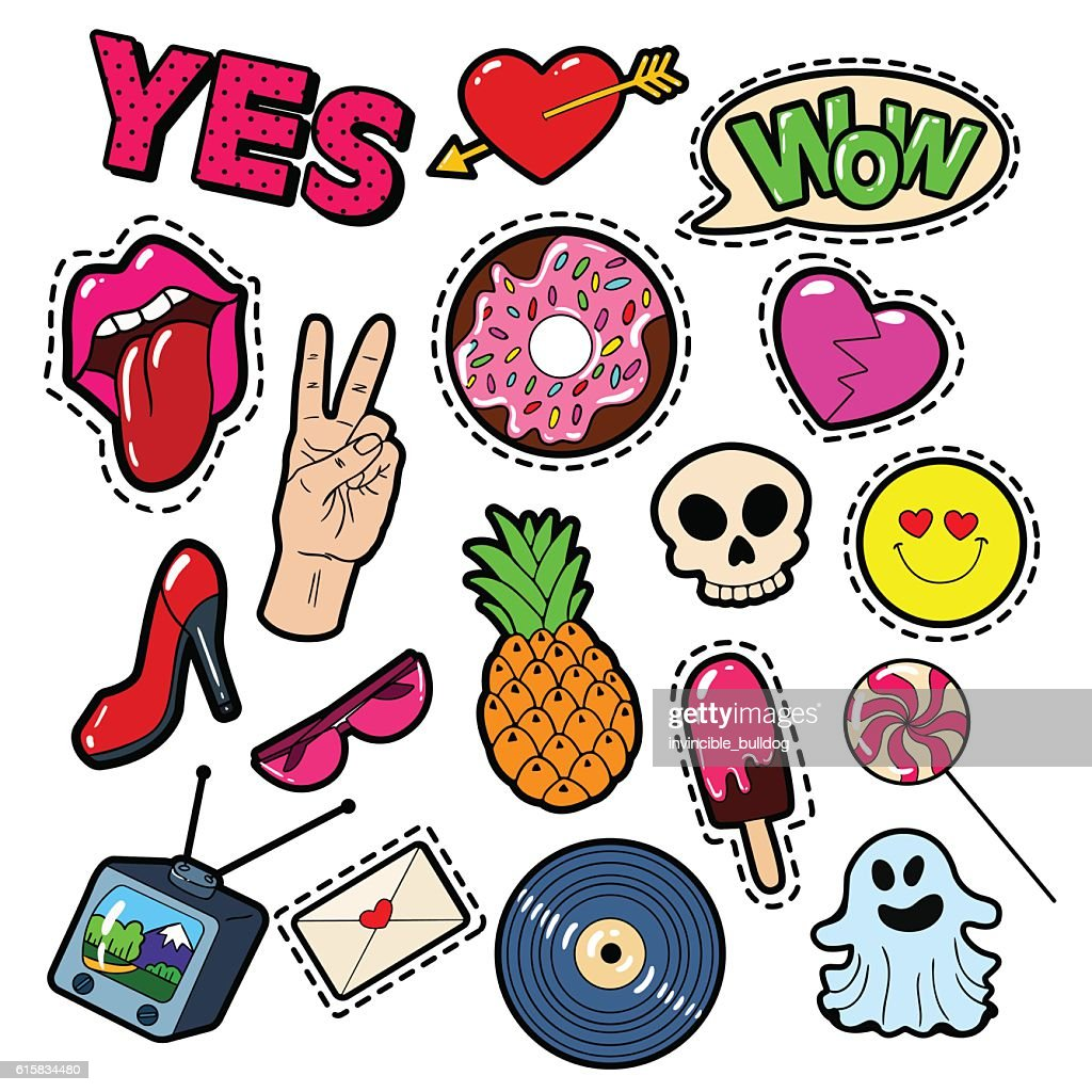 Fashion Badges, Patches, Stickers Girls Elements Lips, Heart, Speech Bubble