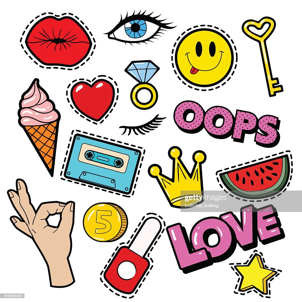 Fashion Badges, Patches, Stickers, Lips, Heart, Star in Comic Style