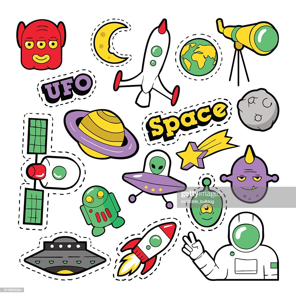 Fashion Badges, Patches, Stickers Space, UFO and Funny Aliens