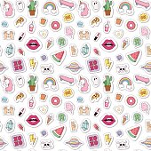 Fashion badges seamless pattern vector illustration.