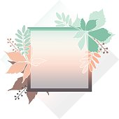 Fashion banner of autumn leaves with white contour. Square frame of leaves for card, invitation, wedding. Pastel colors