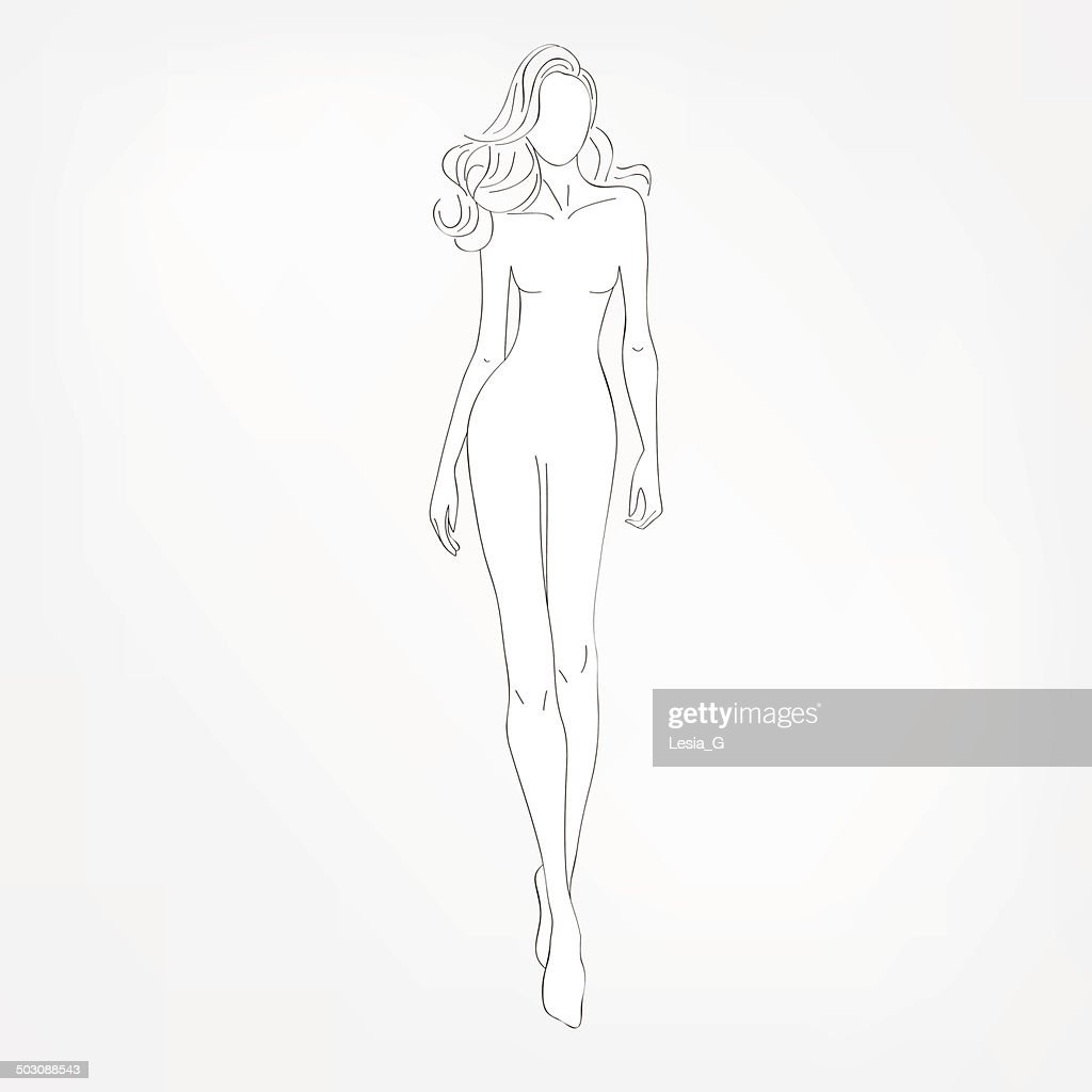 Fashion black-and-white vector illustration. Sketch.