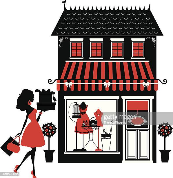 fashion boutique and shopper - boutique stock illustrations, clip art, cartoons, & icons
