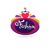 fashion boutique and store icon, label, emblem with bright balloon dress and lettering composition