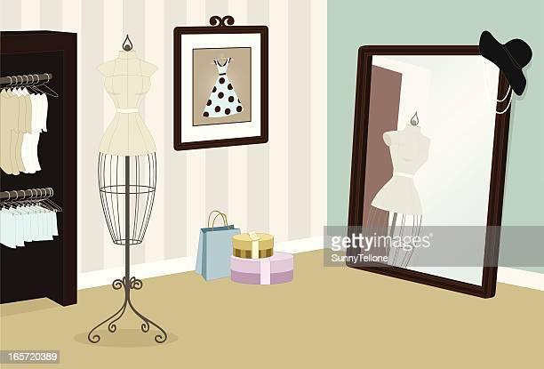 fashion boutique - boutique stock illustrations, clip art, cartoons, & icons