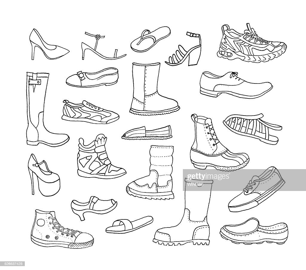 Fashion collection. Different Hand Drawn Shoes. Vector. Isolated.