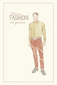 Fashion Collection Of Clothes Male Model Wearing Trendy Clothing Sketch