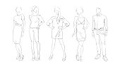 Fashion Collection Of Clothes Set Of Models Wearing Trendy Clothing Sketch