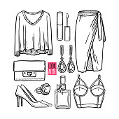 Fashion collection of girl sketch clothing