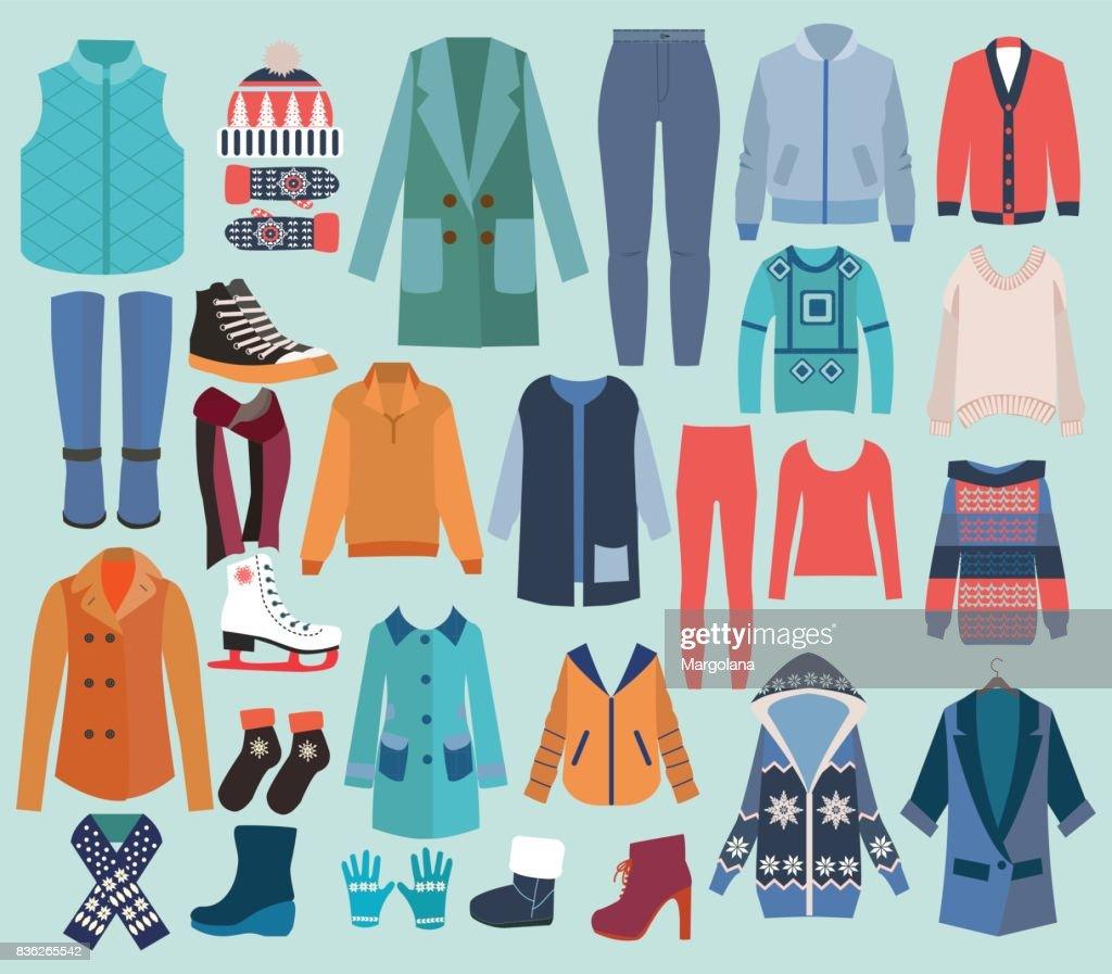 Fashion collection of winter woman wardrobe.