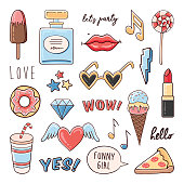 Fashion comic set of trendy patches, badges  and stickers