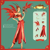Fashion Design infographic The Asian nation fancy dress