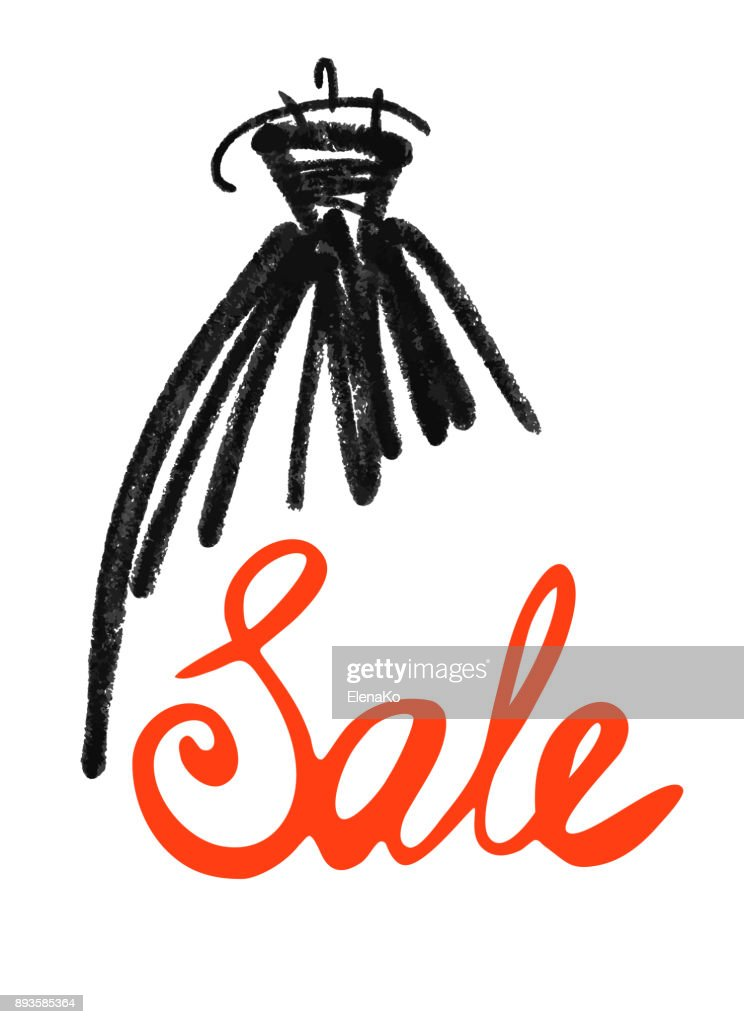 Fashion design vector illustration hand drawn. Woman dress isolated on white. Dress with Sale on hanger. Lettering.