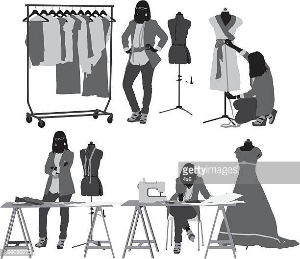 fashion designer in her workshop - mannequin stock illustrations, clip art, cartoons, & icons