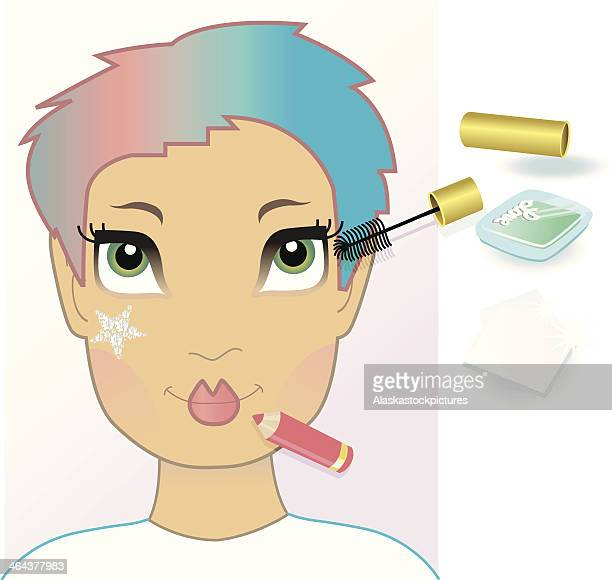 fashion face picture with working make-up objects. - lip liner stock illustrations, clip art, cartoons, & icons