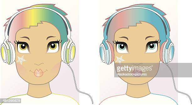 fashion faces (jewelsticker and headphones). - lip liner stock illustrations, clip art, cartoons, & icons