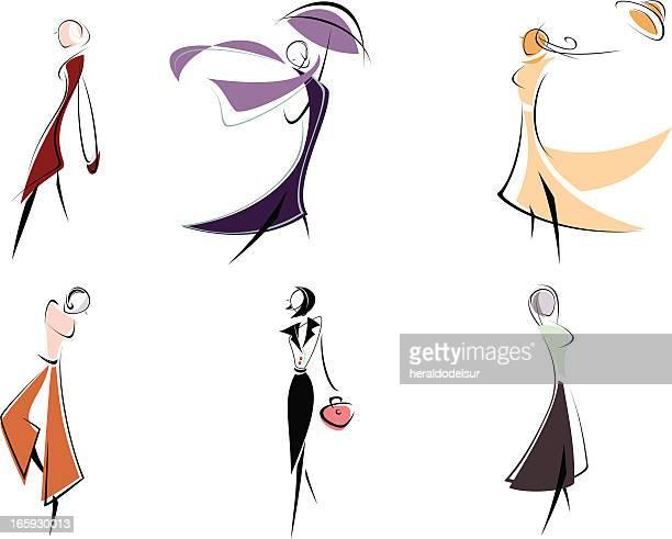 fashion figurines - figurine stock illustrations, clip art, cartoons, & icons