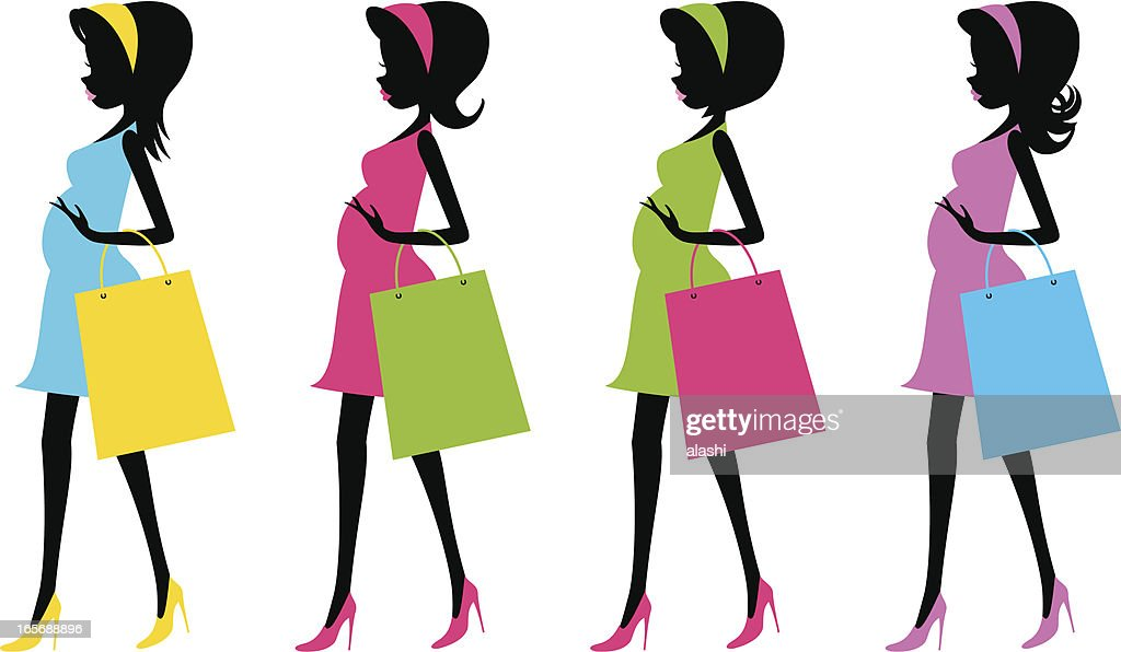Fashion future mother with shopping bags(Pregnancy)