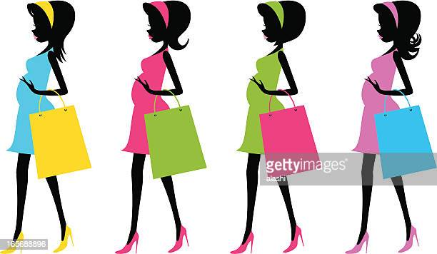 fashion future mother with shopping bags(pregnancy) - women's issues stock illustrations, clip art, cartoons, & icons