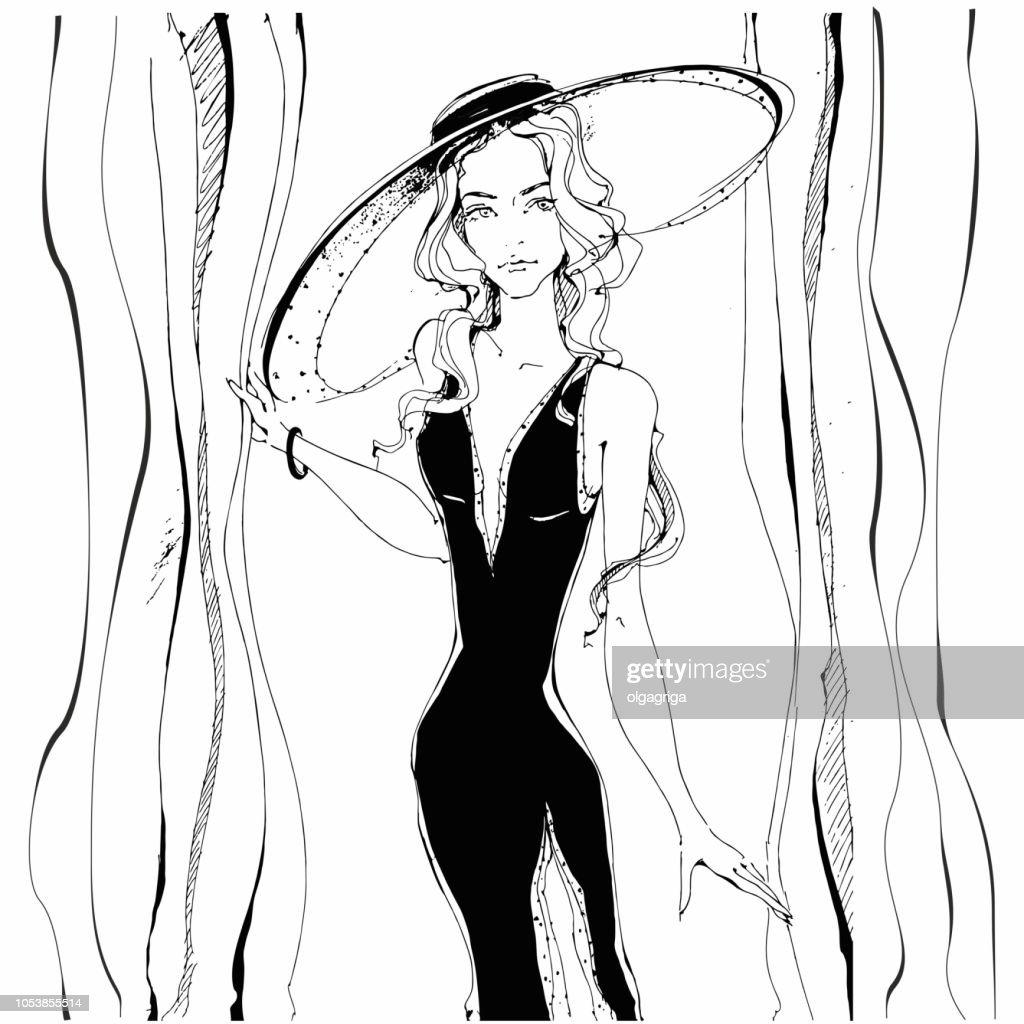 Fashion girl . Beauty model in hat. Graphics. Gray. Vector illustration