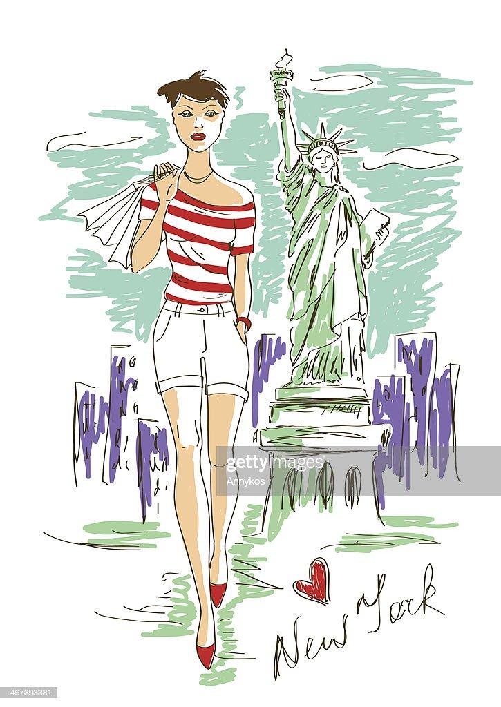 Fashion girl in New York