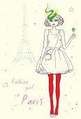 Fashion girl in Paris near Eiffel Tower hand drawn illustration
