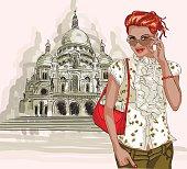 fashion girl on Basilique Du Sacre Coeur background