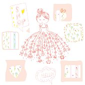 Fashion girl with flowers and frames set - cute design, vector llustration