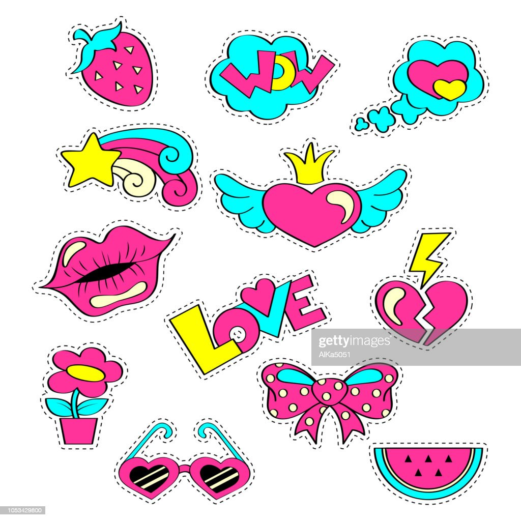 Fashion girlish patch badges with hearts, lips, strawberry, watermelon, sunglasses, star, bow, flower. Stickers in cartoon 80s-90s comic style