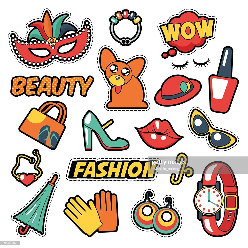 Fashion Girls Badges, Patches, Stickers - Clothes, Bubble, Cosmetics