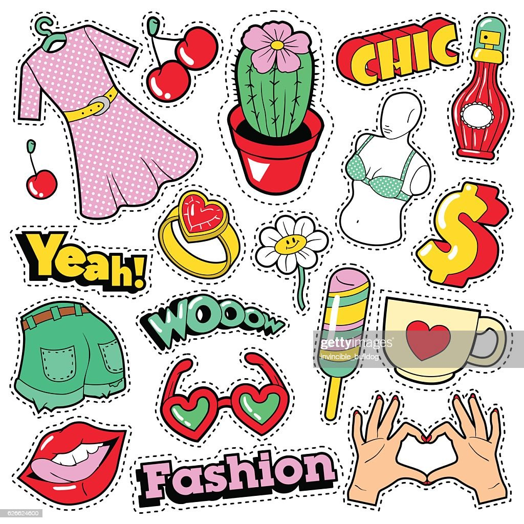Fashion Girls Badges, Patches, Stickers with Clothes and Accessories