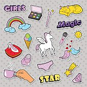 Fashion Girls Badges with Rainbow, Cat