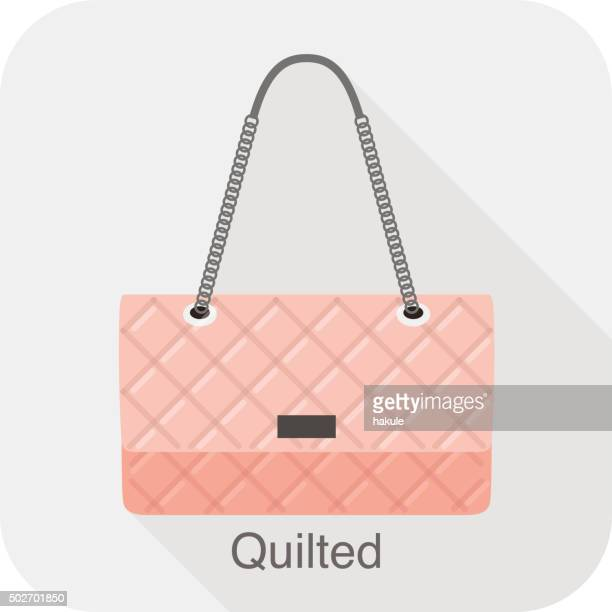 fashion girl's handbag series, vector, quilted bag - quilt stock illustrations, clip art, cartoons, & icons