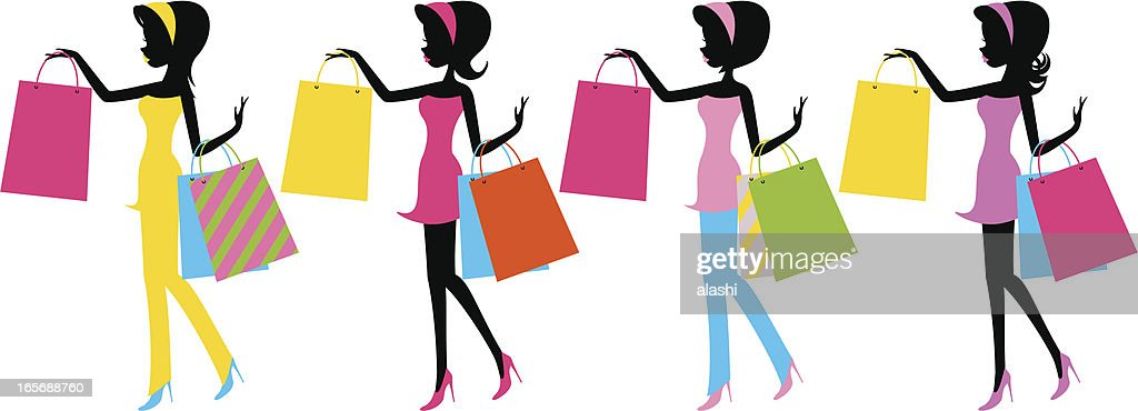 Fashion girls with shopping bags