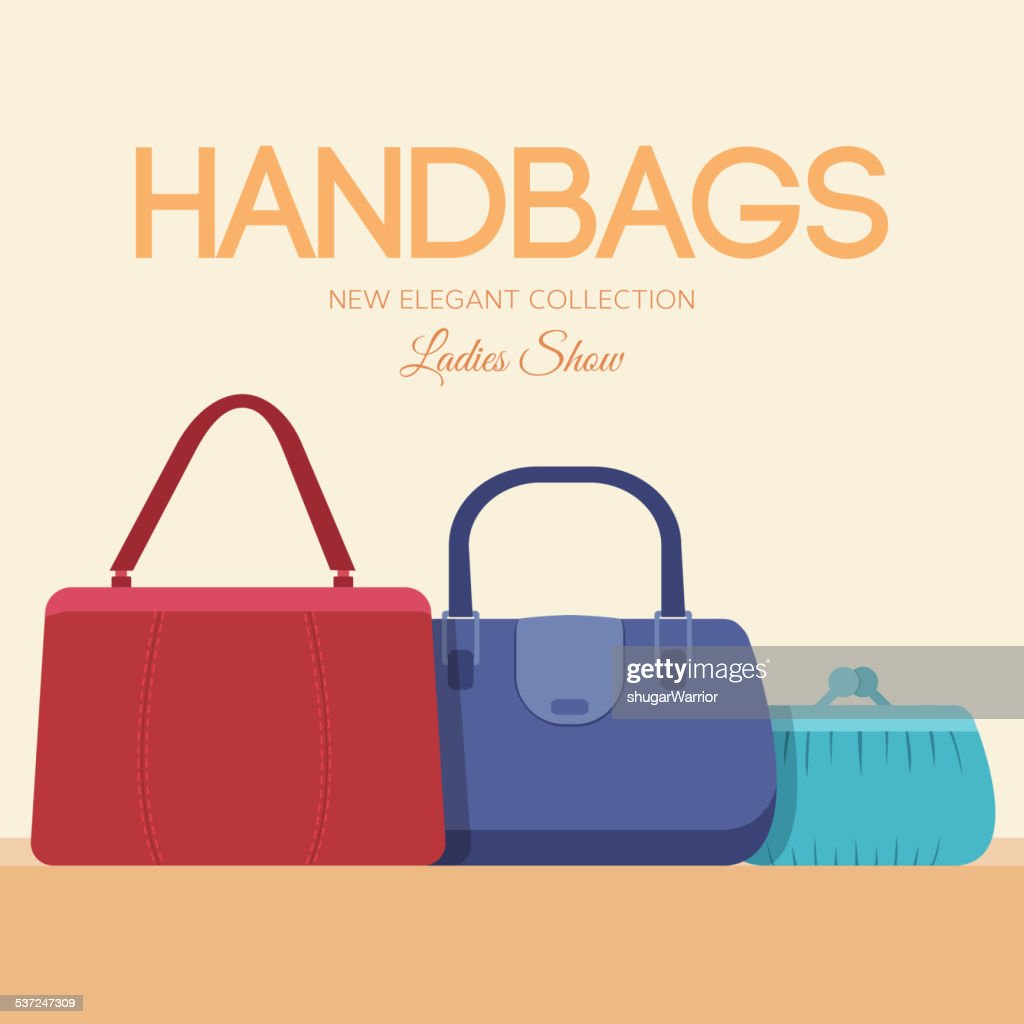 fashion handbags and bags in flat illustration concept icons set