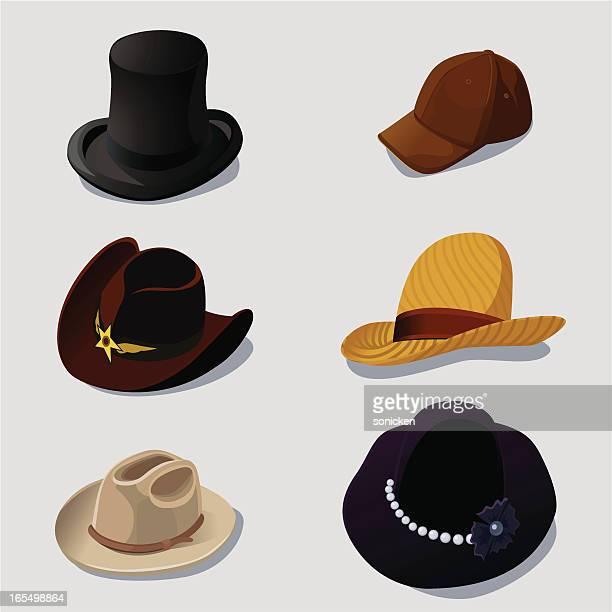 fashion hats set - cowboy hat stock illustrations, clip art, cartoons, & icons