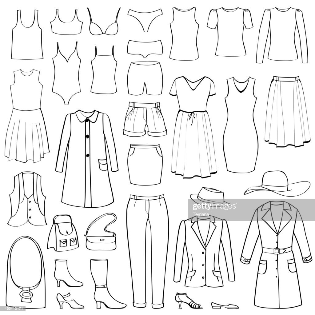 Fashion icons set. Female cloth collection.