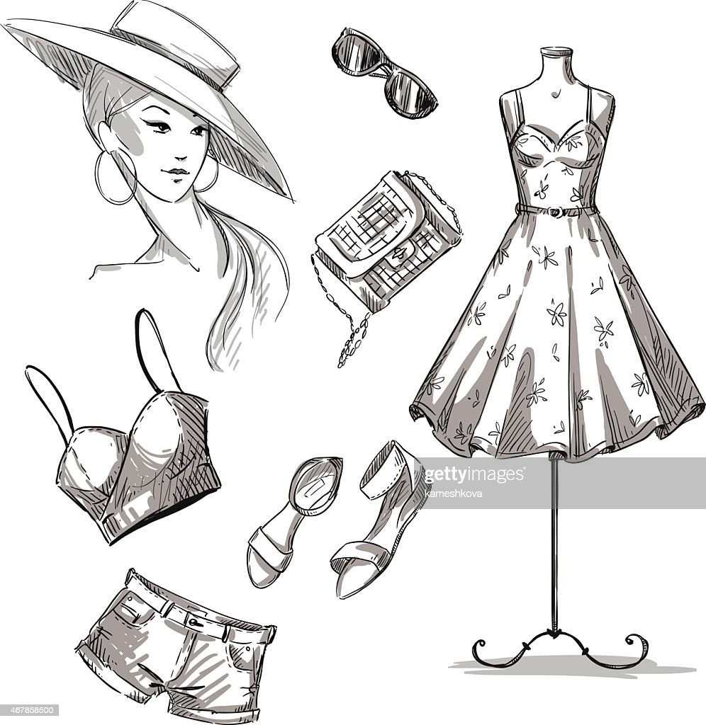 fashion illustration. collection of summer clothing and accessories