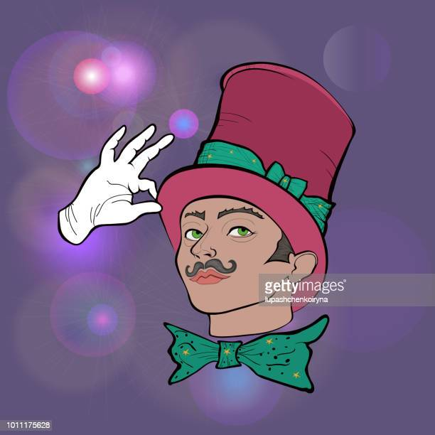 Fashion illustration vector portrait of a magician in a bright red cylinder and white gloves
