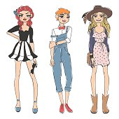 Fashion look girl beautiful girl woman female pretty young model style lady character vector illustration