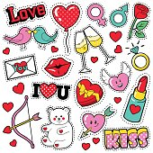 Fashion Love Badges Set with Patches, Stickers, Hearts