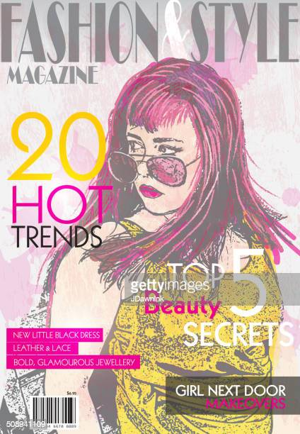 fashion magazine cover design template - magazine cover stock illustrations