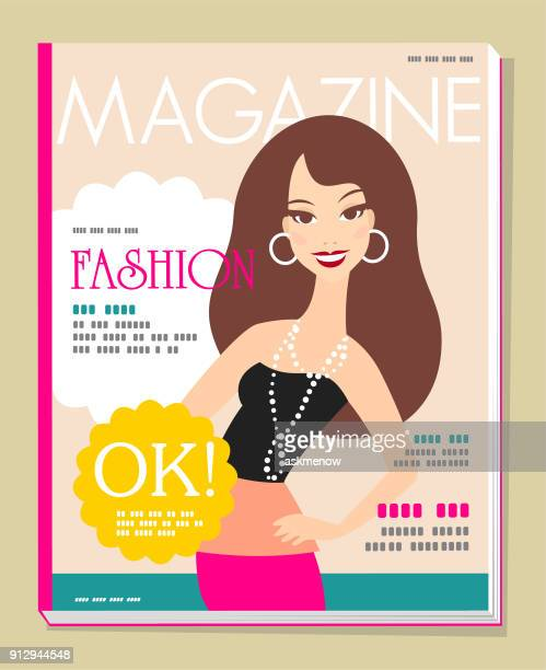 fashion magazine cover - magazine cover stock illustrations