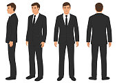 fashion man isolated, front, back and side view,