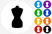 Fashion Mannequin Icon on Flat Color Circle Buttons