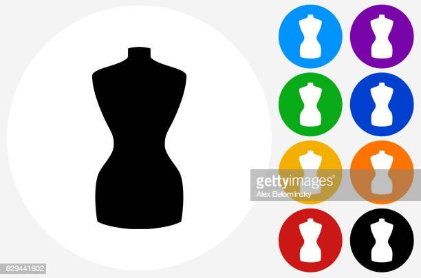 fashion mannequin icon on flat color circle buttons - mannequin stock illustrations, clip art, cartoons, & icons