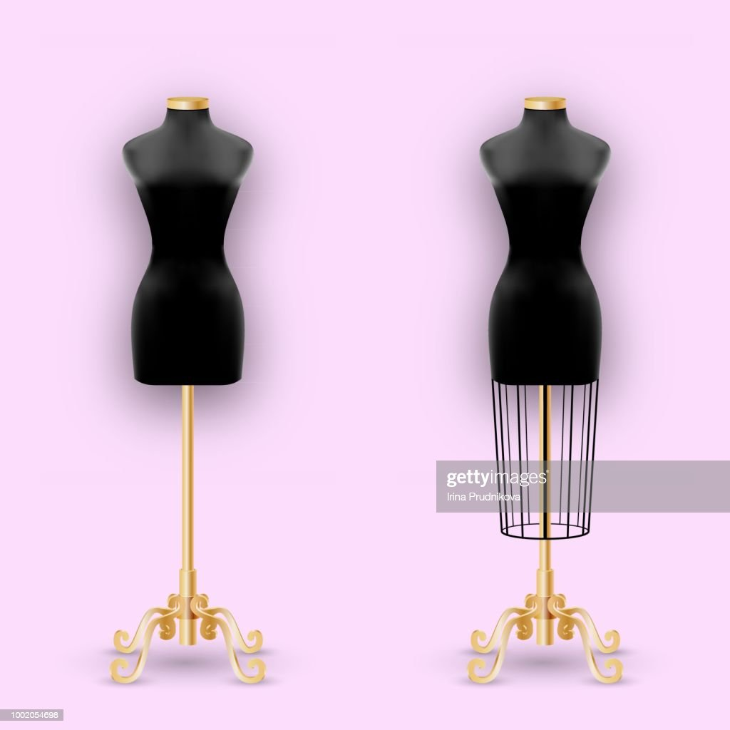 Fashion Mannequin or Dummies Black Silhouette For Sewing Women Fashionable Clothes Design Style. Dressmakers object for female body