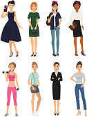 Fashion model girl clothes character looks style elegant woman shopping glamour feemale girlfriends stylish clothing pretty people vector illustration